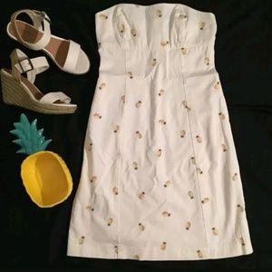 J crew white strapless dress pineapple bodycon